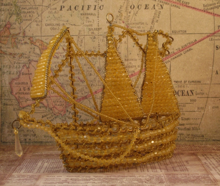 Gold Beaded Ship