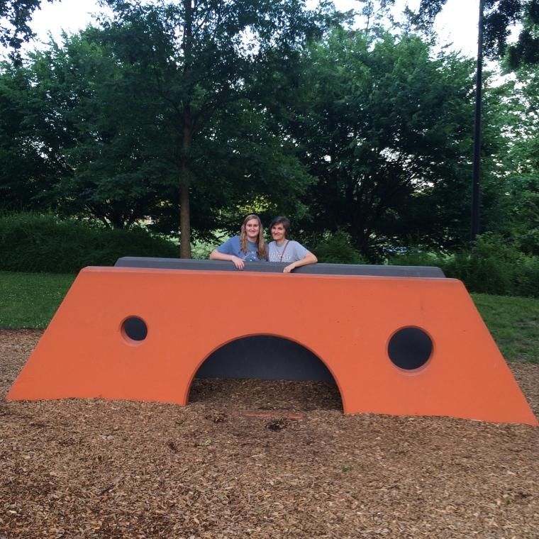 Mimi and Jill enjoying Noguchi Playground
