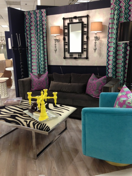 Cuckoo in Lotus Metallic Grasscloth w Dynasty in Orchid panels & Bombay and Shishi pillows in Orchid on Cotton Sateen