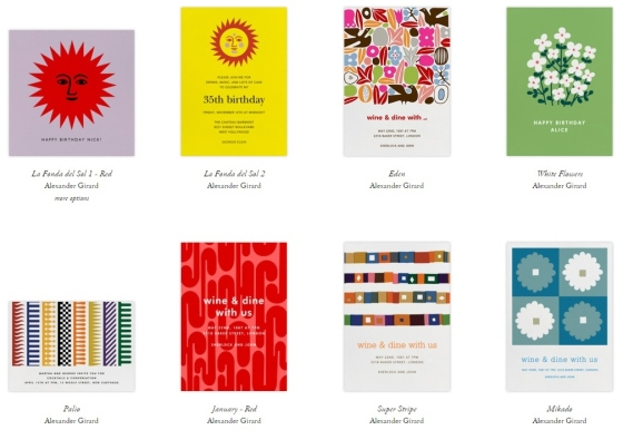 An assortment of Girard inspired designs for Paperless Post