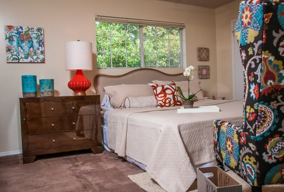 Master bedroom after - a beautiful retreat, with plenty of places to snuggle up with the kids or just relax.