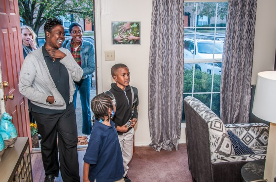 Here's the family first walking in to their new space - we think they're thrilled with their new home!