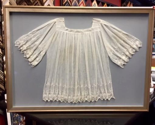 custom framed antique blouse