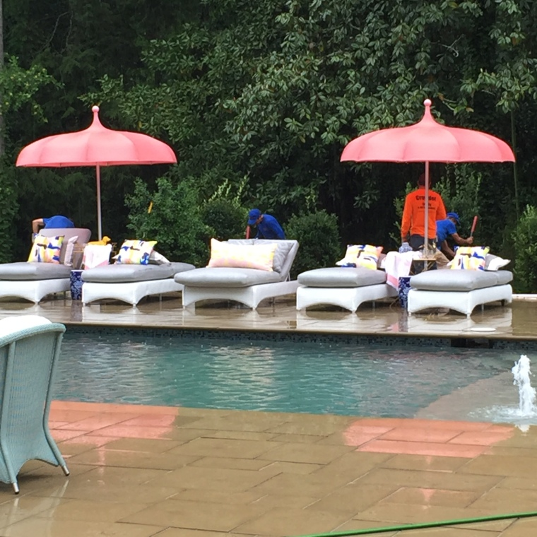 Even in the rain, we'd fancy a poolside lounge here!