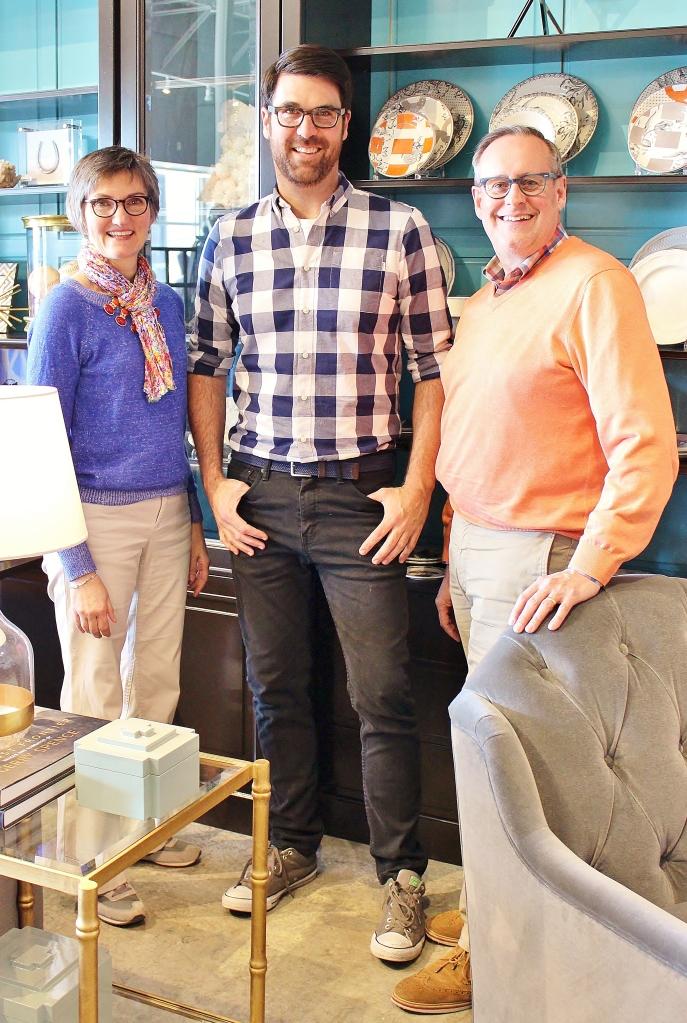 Jill, Brian and Steve in the steve mckenzie's showroom.