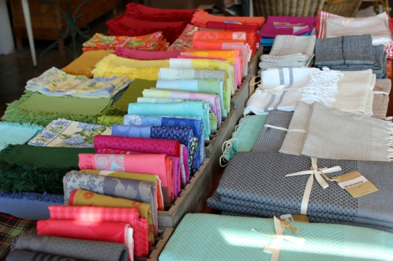 A selection of some of the fabric napkins available at the steve mckenzie's showroom.