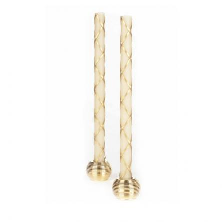 """Ivory and gold """"fishnet"""" tapers"""