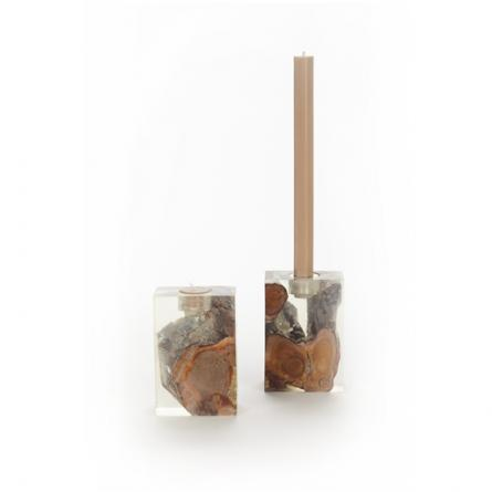 Teak and resin candle holder - use with taper candles or votives!